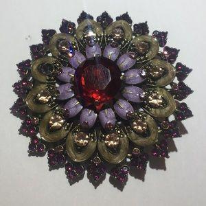 Vintage gold purple stone flower brooch pin